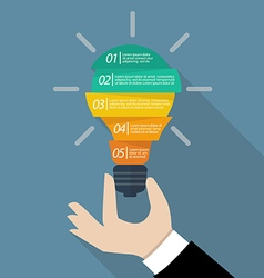 Hand holding light bulb infographic vector image vector image