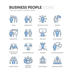 Line Business People Icons vector image