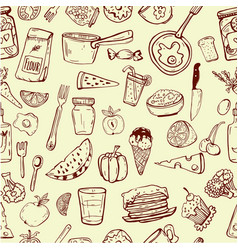 pattern of cooking utensils and food vector image