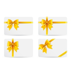 Set of gift cards with golden bow vector image vector image