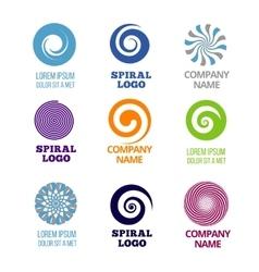 Spiral and swirl logos set vector