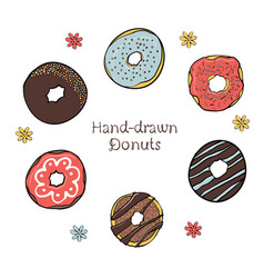 43-2 set of hand-drawn dougnuts vector image