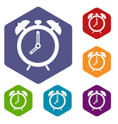 Alarm clock icons set hexagon vector