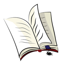 an open book with a blue page marker color vector image