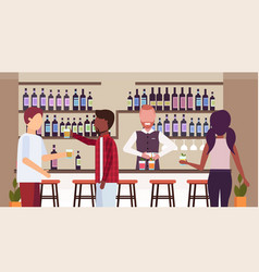 Barman in uniform pouring drink in glasses vector