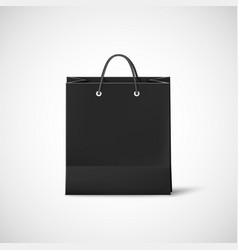 Black shopping paper bag template of empty black vector