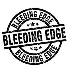 Bleeding edge round grunge black stamp vector