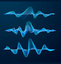 blue sound waves track design set audio waves vector image