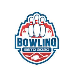 Bowling badge logo design modern simple sport logo vector