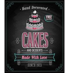 Cake chalkboard vector