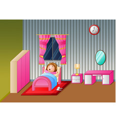cartoon little girl waking up and yawning vector image