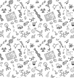 Chemistry and science seamless pattern with sketch vector image