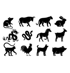 Chinese horoscope silhouettes vector
