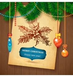 Christmas Hand Drawn Wreath sketch paper vector image