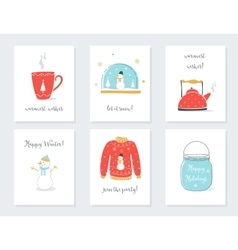 Christmas New Year and Winter Holidays Cards with vector image