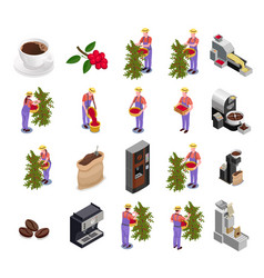 coffee industry isometric icons set vector image