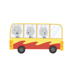 Colored kids transport with cute little wolf vector