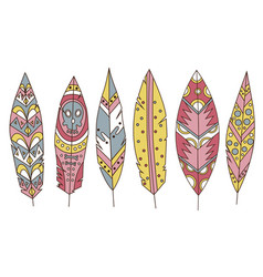 colorful detailed bird feathers set painted vector image