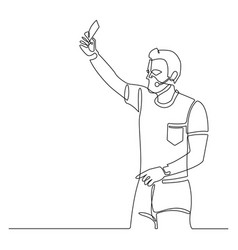continuous line soccer referee showing card vector image