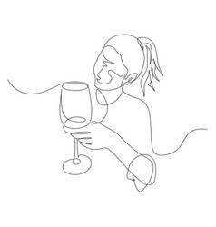 Continuous one line woman with a glass wine in vector