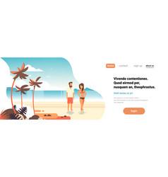 couple sunrise beach tropical palm summer vacation vector image