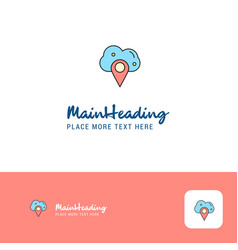 creative cloud navigation logo design flat color vector image