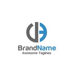 creative letter de logo with circle design element vector image