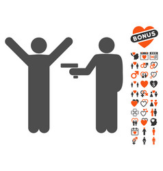 crime robbery icon with dating bonus vector image