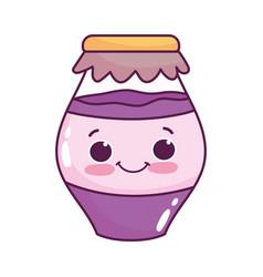 cute food jar with jam sweet dessert kawaii vector image