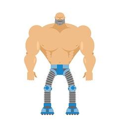 Cyborg- half human half robot Body of man Legs vector image vector image