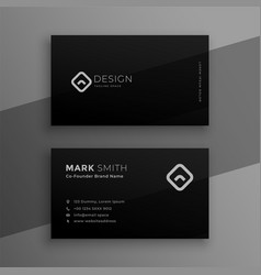 dark black elegant business card template design vector image