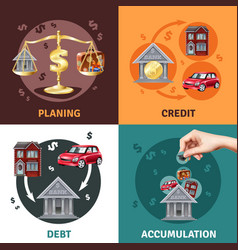 Debt credit concept 4 flat icons vector