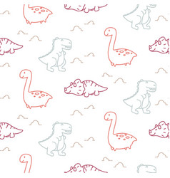 dinosaurs line style cute baby seamless vector image