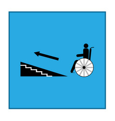 Disabled ramp up isolated sign in blue square vector