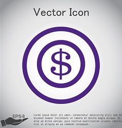 Dollar coin symbol of money vector image