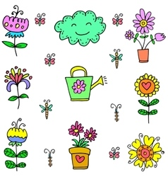 Doodle spring colorful item vector