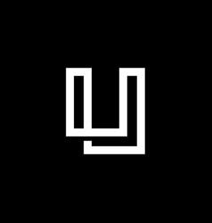 elegant modern black and white color letter u vector image