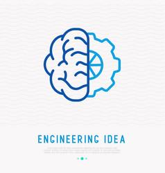 Engineering idea concept human brain with wheel vector