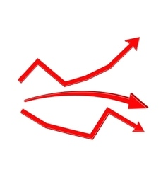 Financial statistic red arrows vector