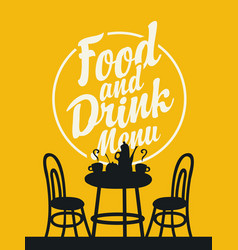 Food and drink menu with table for two vector