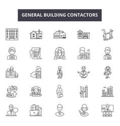 General building contractors line icons signs vector