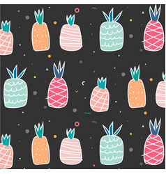 Geometric and cute hand drawn pineapples pattern vector