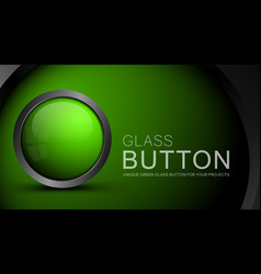 glass green button vector image