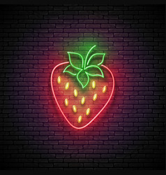 glow strawberry organic berry vector image