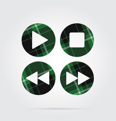 green black tartan icon - music control buttons vector image