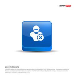 Hacker icon - 3d blue button vector