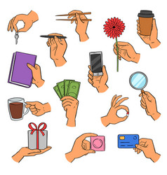 hands arm holding smartphone or coffee cup vector image