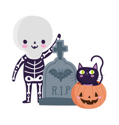 happy halloween skeleton costume tombstone vector image