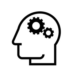 Head silhouette with gears process symbol vector