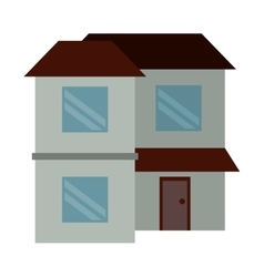 home two floor out windows brown roof vector image
